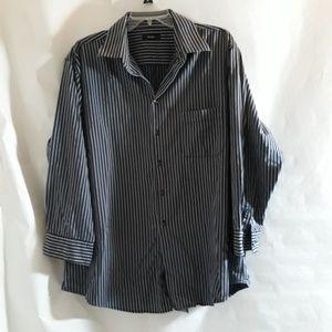 Alfani Men's Striped Black Gray Shirt XL